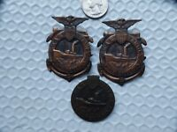 3pcs-WW1 Period War Service Ship Building Badges-Numbered