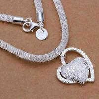 Mode Silber Mode Doppel Herz Halskette Halsreif Damen Mädchen Schmuck R3H8 T7O5