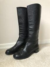 Prada Black Leather Boots 37 Knee High Low Heel Made In Italy Italian