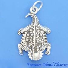 Horned Lizard Horny Toad .925 Sterling Silver Charm Pendant Reptile MADE IN USA