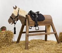 Holzpferd,Pferd,Voltigierpferd,bew.Kopf ca.115cm Lasur-Palisander inkl.Zubehör