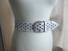 be366d5a1 Vintage 80s wide cut out white leather waist belt 12 14 16 18 VGC trashy
