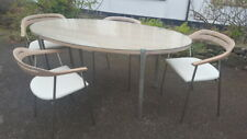 A Stunning Retro 60s Style Modern Oval Dining Table with 4 Chairs on Chrome Legs
