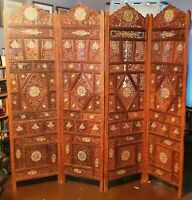 """Bone Inlay 4 Panel ROOM DIVIDER Screen Partition 80"""" India Nepal Indonesia Flora"""