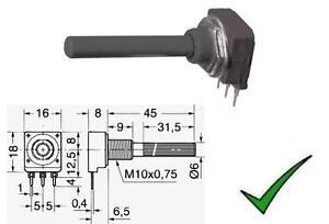 Potenziometro 1K Ohm Lineare Mono 0,25W a Strato di Carbone Monogiro