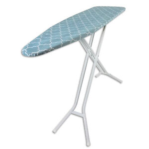 Homz 4 Leg Steel Top Folding Ironing Board with White Frame & Blue Lattice Cover