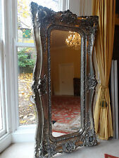 large & Extra Tall Antique  style opulent silver Rococo Wall hall leaner mirror
