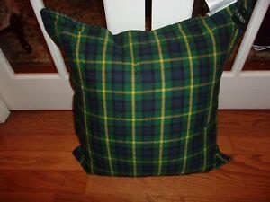 Ralph Lauren Plaid Green/Navy/Yellow Reversible Down Filled Decorative Pillow