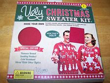 NEW MAKE YOUR OWN UGLY CHRISTMAS HOLIDAY SWEATER KIT MENS SIZE L RED WOMENS M
