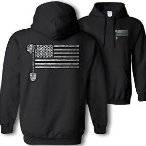 Contractor American flag hooded sweatshirt - USA construction worker camo hoodie