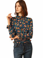 Allegra K Women's Smocked Waist Ruffled Hem Floral Dots Blouse