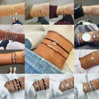 BOHO Fashion Women Jewelry Bead Bangle Chain Cuff Open Lady Charm Bracelet Set