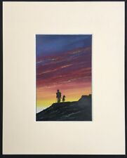 "Walking in the Sunset original mounted artwork 10""x8"" G Burgess StIves Cornwall"