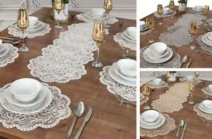 Tropik Home embroidered 7 piece place mats and runner set in white, grey, beige