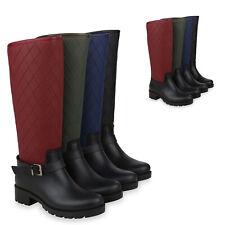 Damen Stiefel Gummistiefel Gesteppte Regenschuhe Profilsohle 824698 Schuhe