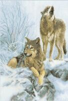 Cross stitch kit Snow-covered forest (wolves)