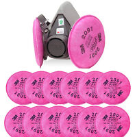 3M 6200 HALF FACEPIECE Spray Paint Gas MASK RESPIRATOR & 12PCS P100 2091 FILTER