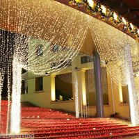 3x3M 300 LED Warm White Light Curtain String Fairy Lights Xmas Wedding Party