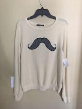 NEW WILDFOX Mustache Sweatshirt Top Size S (fits up to L)  $98 Cream Super Soft