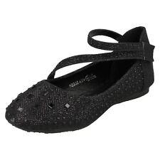 Girls H2335 Spot on Y Strap Glitter Party Shoes Black UK 13 Junior Standard