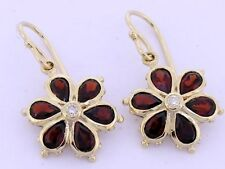 EP038 Genuine 9K 9ct Gold Natural Garnet & Diamond Large DAISY Drop EARRINGS