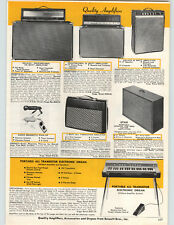1967 PAPER AD Guitar Amplifiers Deluxe Pro Professional Bennett Console Piano