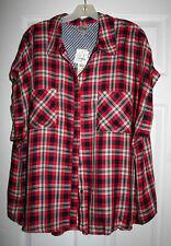Como Vintage Womens Plus 3X Red Plaid Sleeveless Blouse Tunic Top NWT
