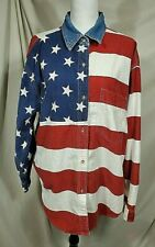 Vtg QUIZZ JEANS Plus Size 20 Patriotic Shirt Womens XXL 2X American Flag Denim