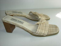 WOMENS TAN BEIGE IVORY BONE CAMEL LINEN LOOK SLIDES SANDALS HEELS SHOES SIZE 7 M
