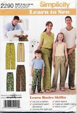 SIMPLICITY SEWING PATTERN 2290 CHILDS / TEENS / ADULTS SZ XS-L/XS-XL EASY PANTS
