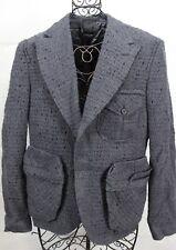 LANVIN Gray Deconstructed 100% Wool Cargo Pocket Blazer Jacket 48 8 Italy New