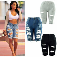 UK Plus SZ Womens Vintage High Waist Stretch Ripped Denim Jeans Shorts Hotpants