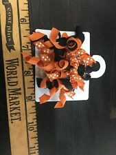 New GYMBOREE HALLOWEEN PUMPKIN CURLY RIBBON BARRETTES 2 PACK CLIPS Polka Dots