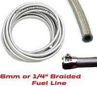 """Stainless steel braided Fuel Hose 6mm 1/4"""" fuel, oil, water, ethanol & diesel"""