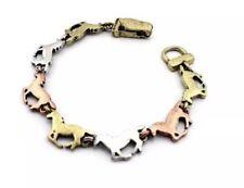 Tri-tone Running Horses Bracelet Western Burnished