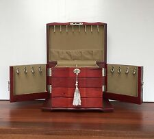 Quality Wooden Jewellery Box 260mm Wide with 2 Swing Doors Lock and Key