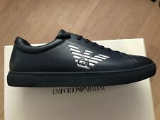 NEW Emporio Armani Shoes Dark Blue Leather Low Top Sneakers Trainers US 11