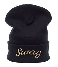 Winter BEANIE HAT Oversize HATS LA Bad Hair Day Swag Trill Easy Meow Wasted Cap