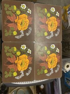 Retro Marks And Spencer Flower Place Mats X4 (used), Poppy Design
