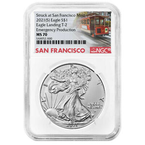 2021 (S) $1 Type 2 American Silver Eagle NGC MS70 Emergency Production Trolley L