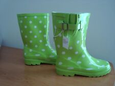 Girls' GUZZIE Lime Green Polka Dot Rain Boots SIZE 2 Cat & Jack NEW WITH TAGS
