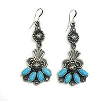 Native American Sterling Silver Navajo Handmade Natural Turquoise Dangle Earring