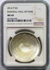 2014-P Baseball Hall of Fame $1 NGC MS 69 Modern Commemorative Silver Dollar