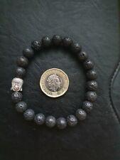 Black and Silver Buddha Volcanic Stone Chakra Bracelet Charm Pendant