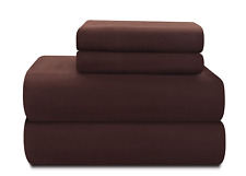 Pointehaven Heavy Weight 100-Percent Cotton Flannel Full Sheet Set, Chocolate