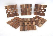 Unusual Wood Coaster Mats - Set of 6 Unique Hand Made Teak wood Coaster mats