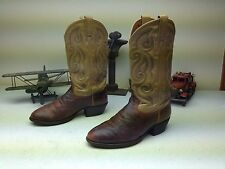 Classic Tony Lama Distressed Brown/Gold Ostrich Western Cowboy Boots Size 9 Ee