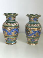 Mario Sambuco Hand Decorated Ceramic Gilded Vase Studio Artwork MADE in ITALY