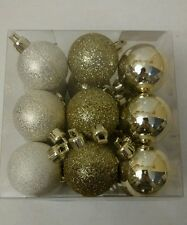 Set of 18 Mini Little Small Christmas Holiday Ball Ornaments Gold Glitter 1.5""