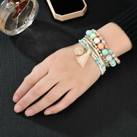 Bohemian Bracelets Women Boho Tassel Multilayer Beads Bangle Jewelry 6Pcs/Set